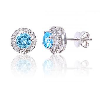 Star Wedding Rings Sterling Silver Earring Set With Blue Topaz Gem Stone And Diamonds