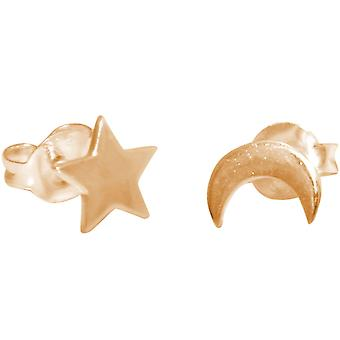 GEMSHINE earrings with star and moon. Stud earrings in 925 silver, gold plated, rose.