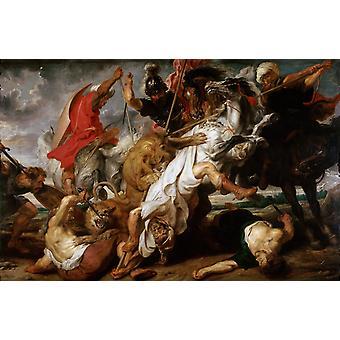 Chasse au lion, Peter Paul Rubens, 60x40cm