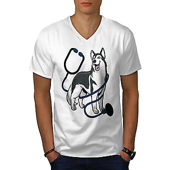 Tierarzt Husky Men WhiteV-Neck T-Shirt | Wellcoda