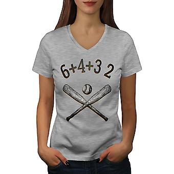 Baseball Bat Women GreyV-Neck T-shirt | Wellcoda