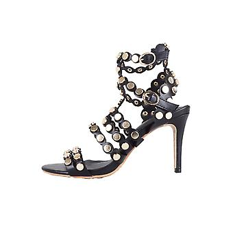 Lovemystyle Black Heeled Sandals With All Over Gold Studs