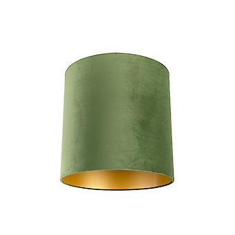 QAZQA Velor abat-jour vert 40/40/40 avec intérieur doré