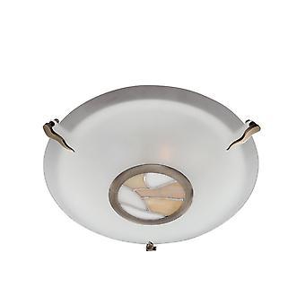 Tiffany Antique Bronze Flush teto luz com vidro fosco - holofote 36095 AM