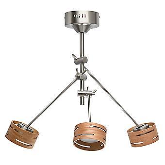 Glasberg - LED Semi Flush teto luz luz três ajustável em níquel acetinado com as máscaras de madeira 725010103