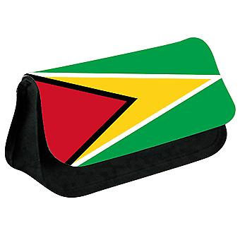Guyana Flag Printed Design Pencil Case for Stationary/Cosmetic - 0072 (Black) by i-Tronixs