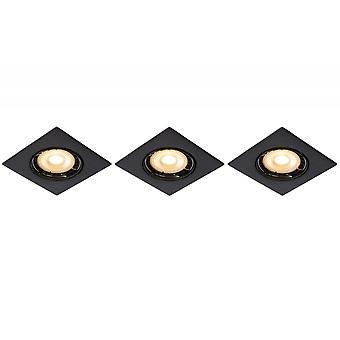 Lucide Focus Modern Square Aluminum Black Recessed Spot Light