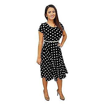 Les femmes dbg à pois manches courtes encolure dégagée polyester robes
