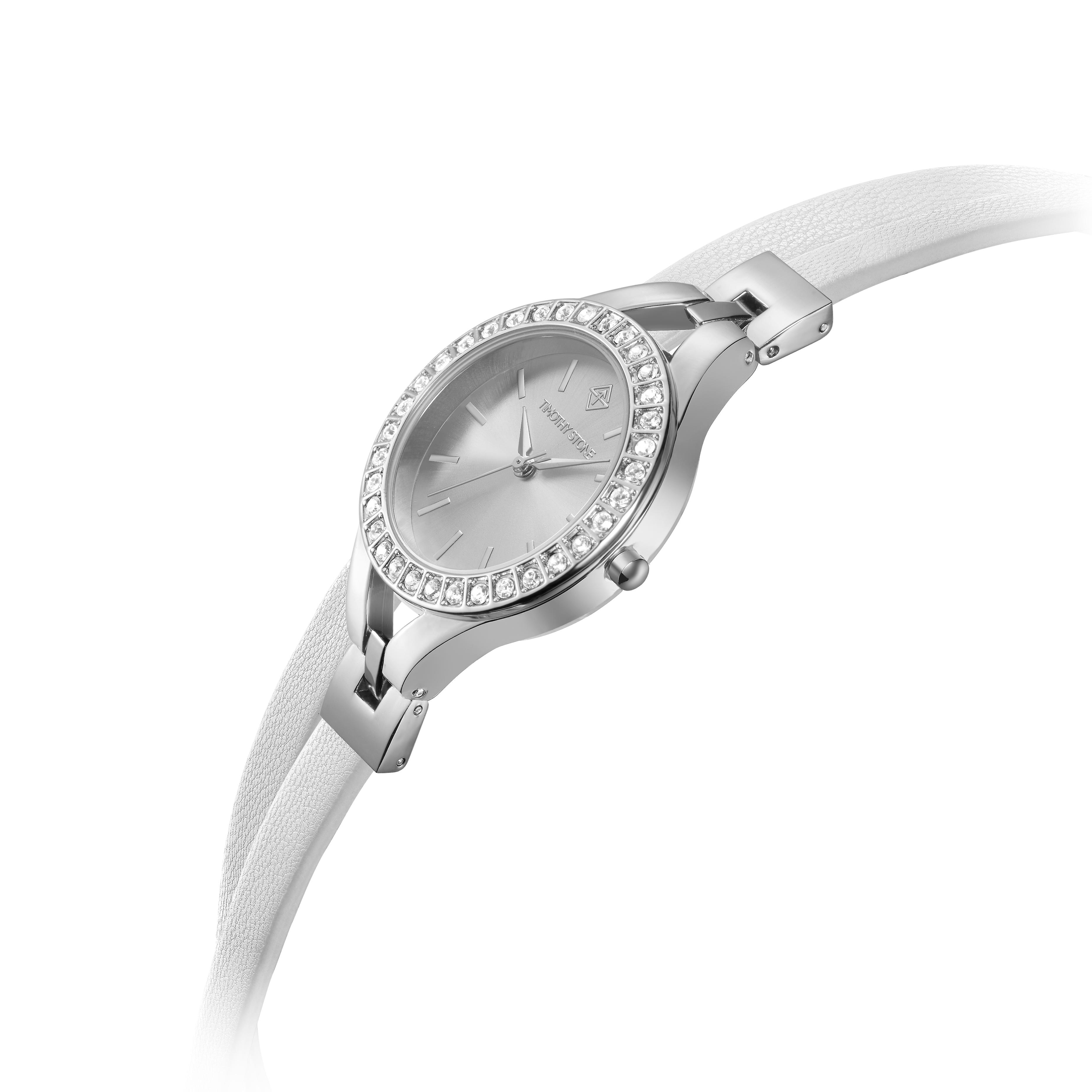 Timothy Stone Women�s JOLIET Silver and White Leather Strap Watch
