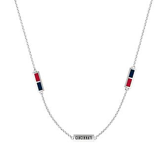 Cincinnati Reds Sterling Silver Engraved Triple Station Necklace In Red & Blue