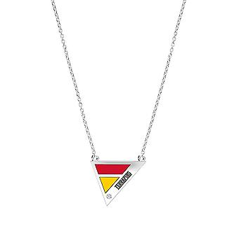 University Of Maryland Engraved Sterling Silver Diamond Geometric Necklace In Red & Yellow