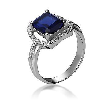 Orphelia 925 Silber Ring mit Saphir und Zirkonium