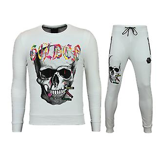 Skinny Trainingspak Heren - Joggingpak Heren Goedkoop - Color Skull - Wit