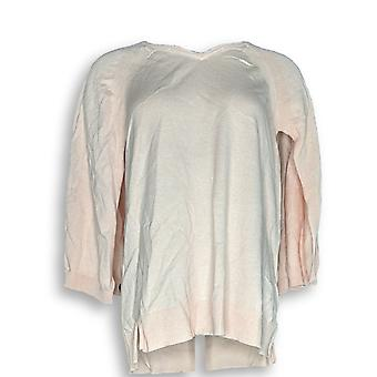 H door Halston Marled V-hals Pullover Cape trui roze A300996