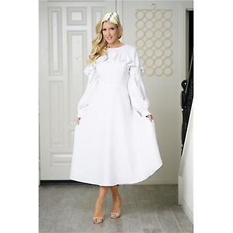 Neck Ruffle Long Lantern Sleeve Empire Princess Maxi Dress