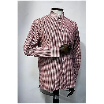 Merc London Japster Blood Red & White Gingham Cotton Shirt