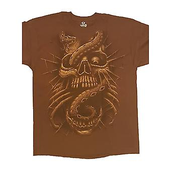 Gothic Horror T Shirt Snake Eye Skull new Liquid Blue Mens Brown