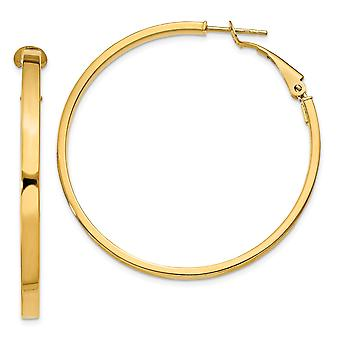 14k Yellow Gold Hollow Hinged post 3x40mm Polished Round Hoop Earrings Jewelry Gifts for Women