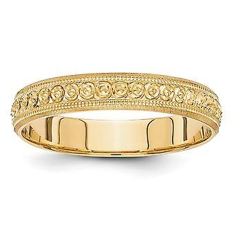 14k Ouro Amarelo Polido 3mm Design Gravado Banda de Casamento Ring Joias para Mulheres - Tamanho do anel: 5 a 8,5