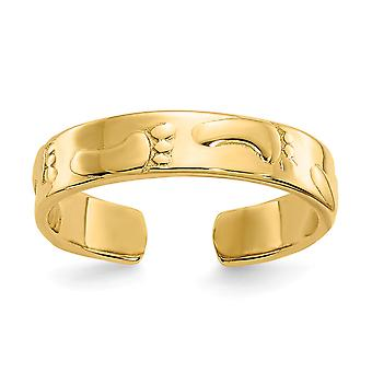 14k Amarelo Ouro Polido Pegadas Toe Ring Joias para Mulheres - 1,3 Gramas
