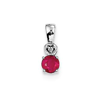 925 Sterling Silver Polished Rhodium-plated Rhodium Plated Diamond and Ruby Round Pendant
