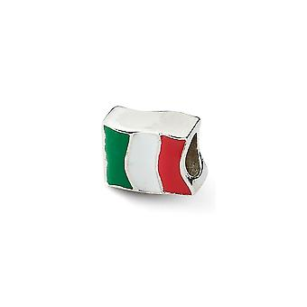 925 Sterling sølv emalje polert Antique finish refleksjoner Italia flagg perle sjarm