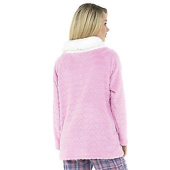 Senhoras capuz pescoço jumper com pom pom design velo Loungwear