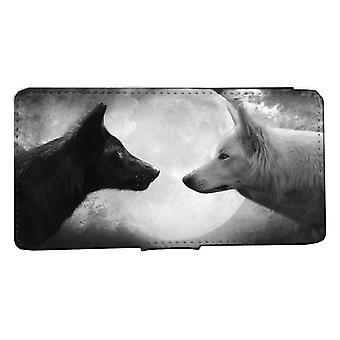 iPhone 7/8 Wallet Case Wolf zwart wit shell geval
