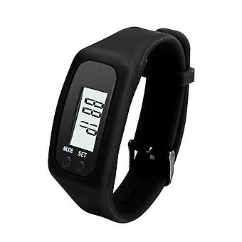 Step counter Pedometer clock model comfortable to wear-black