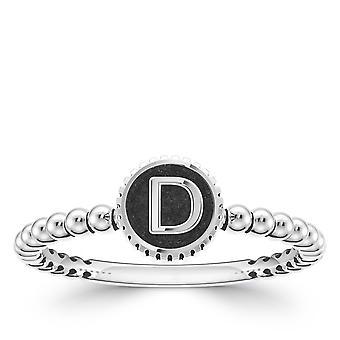 Litera D Alfabetyczna Złapapierścień Shank W Sterling Silver