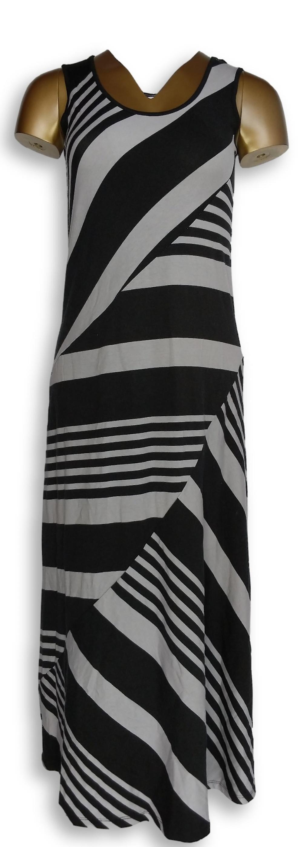 Lisa Rinna Collection Dress Petite Stripe Printed Grey/Black A263133