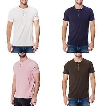 Brave Soul Mens Quartz Short Sleeve Casual Regular Cotton Button Top T-shirt Tee