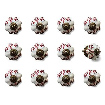 """1.5"""" x 1.5"""" x 1.5"""" White, Burgundy and Copper- Knobs 12-Pack"""