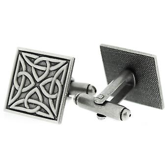 Pewter Celtic Holy Trinity Knots Square Shaped Pair Of Cufflinks