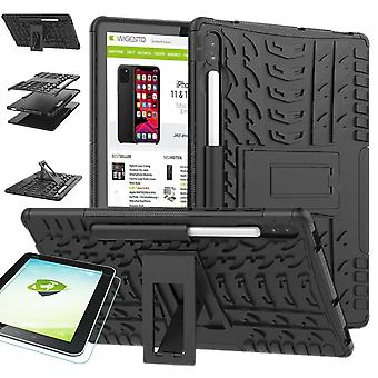 For Samsung Galaxy Tab S6 10.5 T860 T865 Hybrid Outdoor Protective Case Black Case + 0.3 H9 Protective Glass