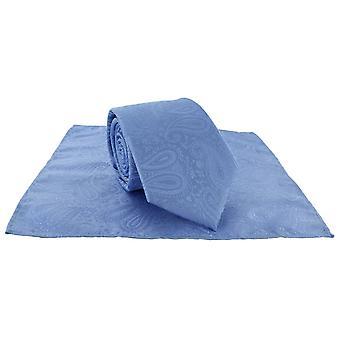 Michelsons de Londres Tonal Paisley poliéster bolso quadrado e amarrem o conjunto - azul claro