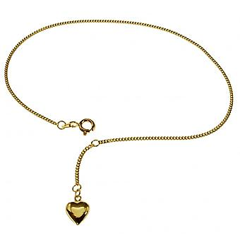 25 cm foot chain with heart - 333 yellow gold anklet gold