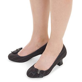 Ruby Shoo Isla Grey Pinstripe Mid Heel Court Shoe & Matching Saigon Bag