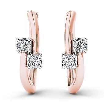 Boucles d'oreilles Igi certifiés 10k rose or 0,33 ct brillant diamant cerceau à deux pierres