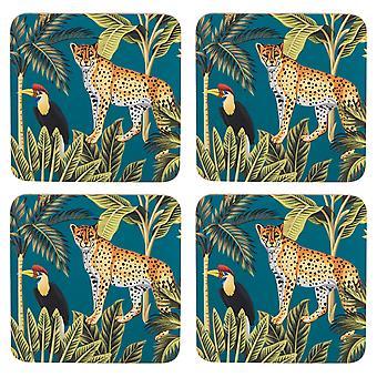 Navigate Madagascar Set of 4 Coasters, Teal Cheetah