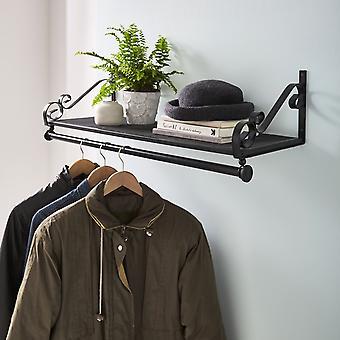 Pesante duty parete montato abbigliamento ferrovia & scaffale