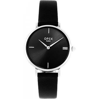 Opex OPW026 Watch - ROTONDE Black Leather Bracelet Box Steel Steel Pink Women