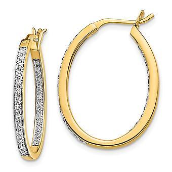 20mm 14k Diamond In Out Hoop Earrings Jewelry Gifts for Women - .50 dwt