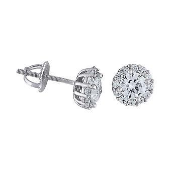 925 Sterling Argento C'È Cubic irconia Simulato Diamante Mens Fiore Orecchini Misure 7.5x7.5mm Di larghezza Gioielli