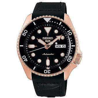 Seiko 5 Sports Rose Gold Steel Case Black Silicone Strap Automatic Men's Watch SRPD76K1