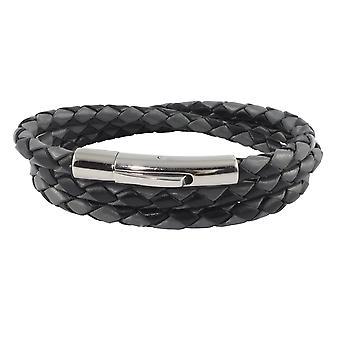 Lederkette Lederband 4 mm Herren Halskette Schwarz / Grau 17-100 cm lang mit Hebeldruck Verschluss Silber geflochten
