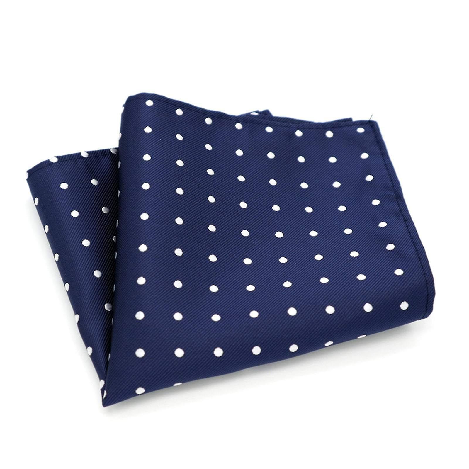 Navy blue & white polka dot interview tie & hanky set