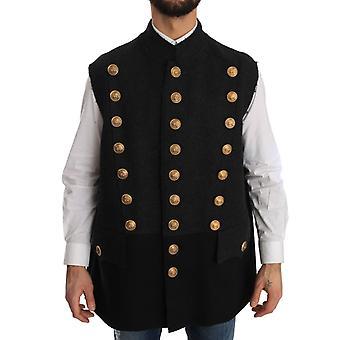Dolce & Gabbana Coat Gray Black Wool Royal Crown Jacket
