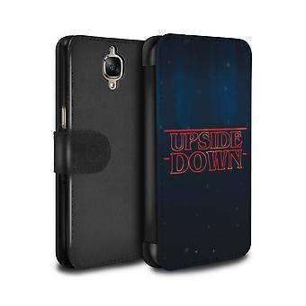 STUFF4 PU Leather Wallet Flip Case/Cover for OnePlus 3/3T/Upside Down Dimension/Strange Retro