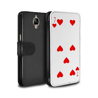 STUFF4 PU Leather Wallet Flip Case/Cover for OnePlus 3/3T/7 of Hearts/Playing Cards